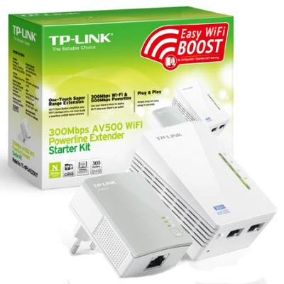 STARTER KIT POWERLINE AV500 WIRELESS N 300Mbps CON 2 PORTE ETHERNET E TASTO WI-FI CLONE COLORE BIANCO TL-WPA4220KIT TP-LINK