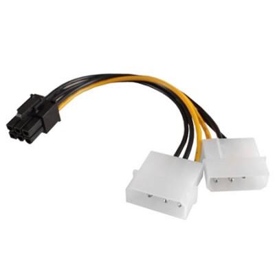CAVO ADATTATORE DI ALIMENTAZIONE CON 2 CONNETTORI MOLEX A PCI EXPRESS 6 PIN LUNGHEZZA 15CM SC10903 VULTECH