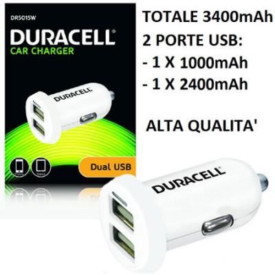 CARICATORE AUTO CON DOPPIA USCITA USB 1000mAh e 2400mAh (TOT. 3400mAh) COLORE BIANCO DR5015W ALTA QUALITA' DURACELL