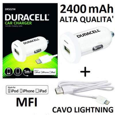 CAVO AUTO USB 2400 mAh + CAVO LIGHTNING MFI CERTIFICATO per APPLE IPHONE 6S, IPHONE 6S PLUS, IPAD PRO BIANCO DURACELL BLISTER