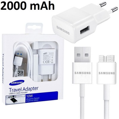 TRAVEL CASA USB 2000 mAh + CAVO USB ORIGINALE SAMSUNG per GALAXY NOTE 3, N9000 COLORE BIANCO BLISTER SEGUE COMPATIBILITA'..