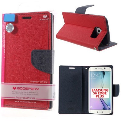 CUSTODIA FLIP ORIZZONTALE per SAMSUNG SM-G928 GALAXY S6 EDGE PLUS CON INTERNO IN TPU E STAND ROSSO FANCY DIARY MERCURY