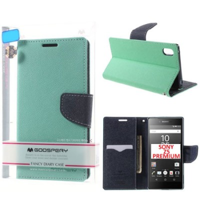 CUSTODIA FLIP ORIZZONTALE per SONY XPERIA Z5 PREMIUM CON INTERNO IN TPU, STAND E PORTA CARTE COLORE VERDE ACQUA FANCY MERCURY