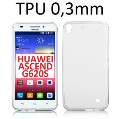 CUSTODIA GEL TPU SILICONE ULTRA SLIM 0,3mm TRASPARENTE per HUAWEI ASCEND G620s, HONOR 4 PLAY