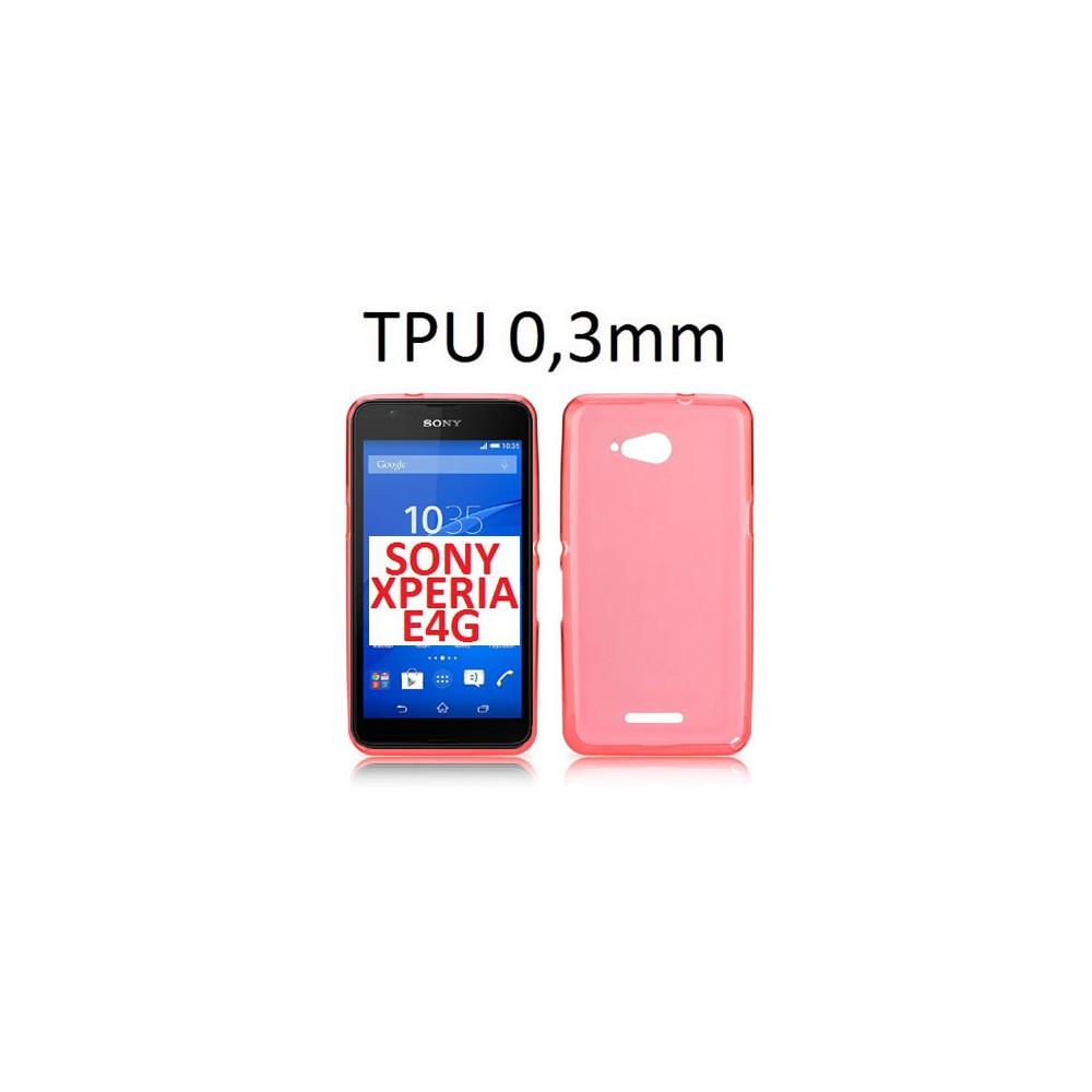 CUSTODIA GEL TPU SILICONE ULTRA SLIM 0,3mm per SONY XPERIA E4G, SONY XPERIA E4G DUAL COLORE ROSA TRASPARENTE