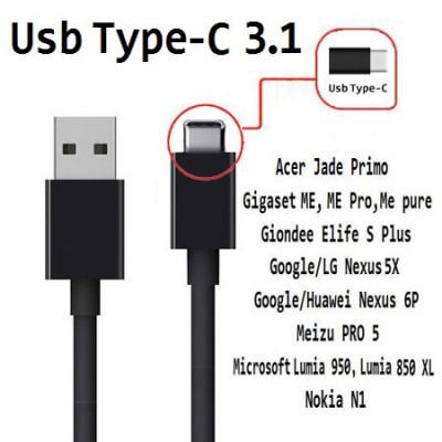 CAVO USB 2.0 CON ATTACCO USB TYPE-C 3.1 per ACER JADE PRIMO LUNGHEZZA 1MT COLORE NERO