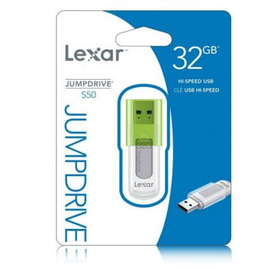 PEN DRIVE LJDS50-32GBABEU USB 2.0 32GB JUMPDRIVE S50 CON CAPPUCCIO A SCORRIMENTO COLORE BIANCO E VERDE LEXAR