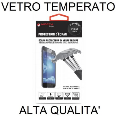 PELLICOLA PROTEGGI DISPLAY VETRO TEMPERATO 0,33mm per APPLE IPHONE 4, 4s ALTA QUALITA' MOCCA BLISTER