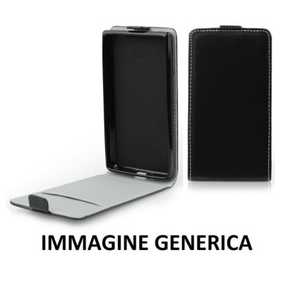 CUSTODIA FLIP VERTICALE SLIM SIMILPELLE per LG BELLO 2, X150 CON INTERNO IN TPU SILICONE COLORE NERO