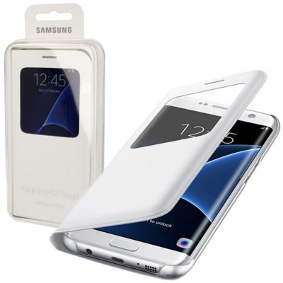 CUSTODIA S VIEW COVER PELLE ORIGINALE SAMSUNG COLORE BIANCO per SM-G935 GALAXY S7 EDGE CON FINESTRA ID BLISTER