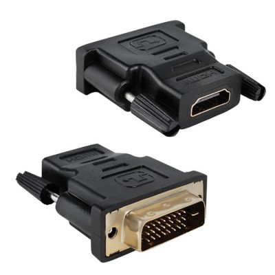 ADATTATORE VIDEO DVI 24+1 (MASCHIO) A HDMI (FEMMINA) CON CONNETTORI PLACCATI IN ORO COLORE NERO SN30134 VULTECH