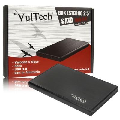 BOX ESTERNO 2.5' HDD SATA USB 3.0 PER HARD DISK CON VELOCITA' DI TRASFERIMENTO FINO A 5Gbps COLORE NERO GS-25U3 VULTECH