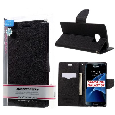 CUSTODIA FLIP ORIZZONTALE per SAMSUNG SM-G930 GALAXY S7 CON STAND E INTERNO IN TPU SILICONE COLORE NERO FANCY MERCURY