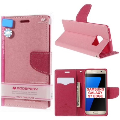 CUSTODIA FLIP ORIZZONTALE per SAMSUNG SM-G935 GALAXY S7 EDGE CON STAND E INTERNO IN TPU SILICONE COLORE ROSA FANCY MERCURY