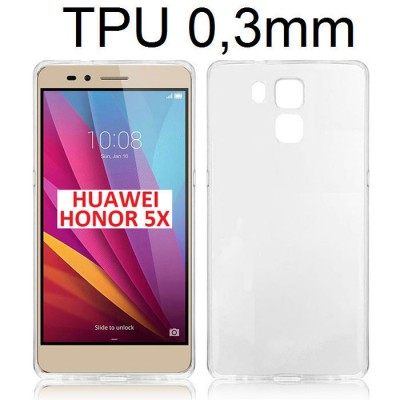 CUSTODIA GEL TPU SILICONE ULTRA SLIM TRASPARENTE 0,3mm per HUAWEI HONOR 5X, GR5