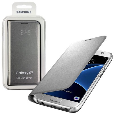 CUSTODIA ORIGINALE per SAMSUNG SM-G930 GALAXY S7 - LED VIEW COVER PELLE COLORE SILVER EF-NG930PSEGWW BLISTER