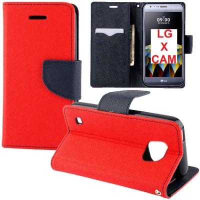 CUSTODIA FLIP ORIZZONTALE per LG X CAM (K580) CON INTERNO IN TPU SILICONE, STAND, PORTA CARTE E CHIUSURA MAGNETICA COLORE ROSSO
