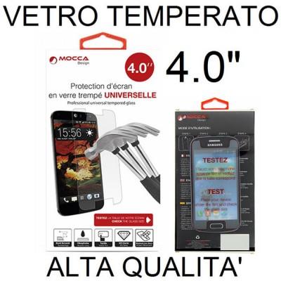 PELLICOLA PROTEGGI DISPLAY UNIVERSALE VETRO TEMPERATO 0,33mm PER DISPOSITIVI FINO A 4.0' POLLICI DIMENSIONI 112 mm X 58 mm MOCCA