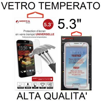 PELLICOLA PROTEGGI DISPLAY UNIVERSALE VETRO TEMPERATO 0,33mm PER DISPOSITIVI FINO A 5.3' POLLICI DIMENSIONI 141 mm X 69 mm MOCCA