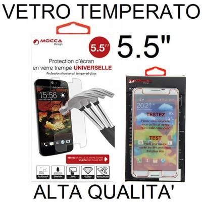 PELLICOLA PROTEGGI DISPLAY UNIVERSALE VETRO TEMPERATO 0,33mm PER DISPOSITIVI FINO A 5.5' POLLICI DIMENSIONI 147 mm X 72 mm MOCCA