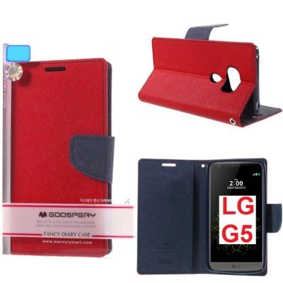 CUSTODIA per LG G5, G5 SE, G5 LITE - FLIP ORIZZONTALE CON STAND ED INTERNO IN TPU SILICONE COLORE ROSSO MERCURY BLISTER