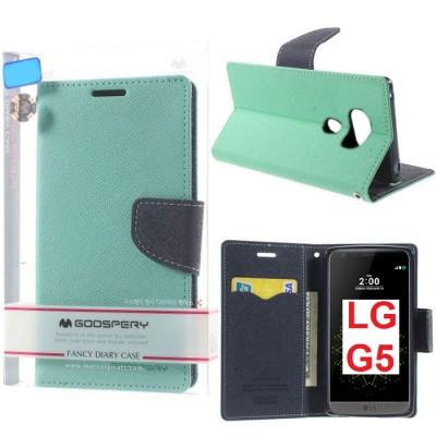 CUSTODIA per LG G5, G5 SE, G5 LITE - FLIP ORIZZONTALE CON STAND ED  INTERNO IN TPU COLORE VERDE ACQUA MERCURY BLISTER