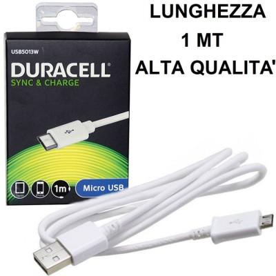 CAVO MICRO USB per GALAXY S7, GALAXY S7 EDGE COLORE BIANCO USB5013W DURACELL BLISTER SEGUE COMPATIBILITA'..