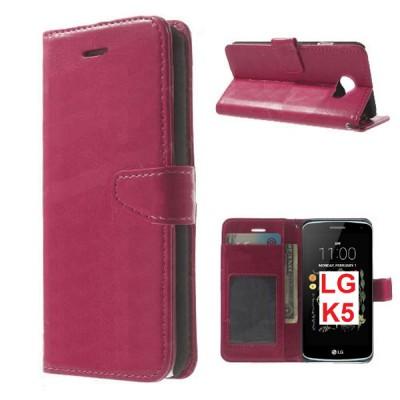 CUSTODIA per LG K5, X220 - FLIP ORIZZONTALE SIMILPELLE CON CHIUSURA MAGNETICA, STAND, INTERNO IN TPU E PORTA CARTE COLORE FUCSIA