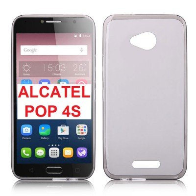 CUSTODIA GEL TPU SILICONE per ALCATEL ONE TOUCH POP 4S, 5095 - 5.5' POLLICI COLORE NERO TRASPARENTE
