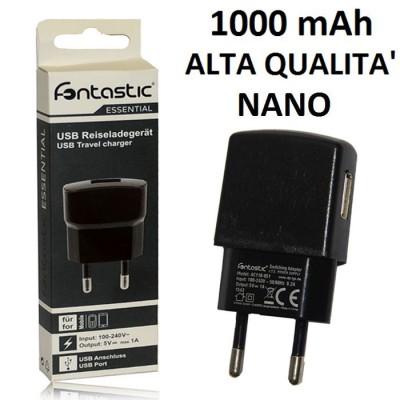 TRAVEL CASA USB NANO CON PORTA DA 1000 mAh COLORE NERO 210716 FONTASTIC BLISTER ALTA QUALITA'