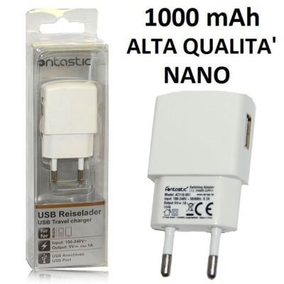 TRAVEL CASA USB NANO CON PORTA DA 1000 mAh COLORE BIANCO 238154 FONTASTIC BLISTER ALTA QUALITA'