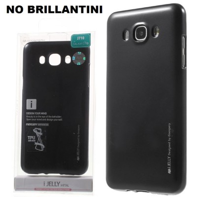 CUSTODIA GEL TPU SILICONE per SAMSUNG SM-J710 GALAXY J7 (2016) NERO ALTA QUALITA' MERCURY I-JELLY BLISTER (NO BRILLANTINI)
