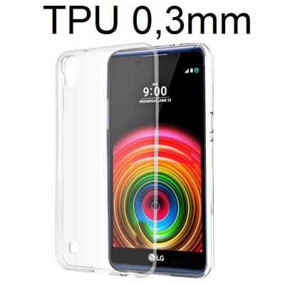 CUSTODIA GEL TPU SILICONE ULTRA SLIM TRASPARENTE 0,3mm per LG X POWER, K220