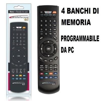 TELECOMANDO UNIVERSALE PROGRAMMABILE DA PC A 4 BANCHI DI MEMORIA PER TV, SAT, PAY TV, DTT, DVD, VCR, PS2 NERO MADEFORYOU BLISTER
