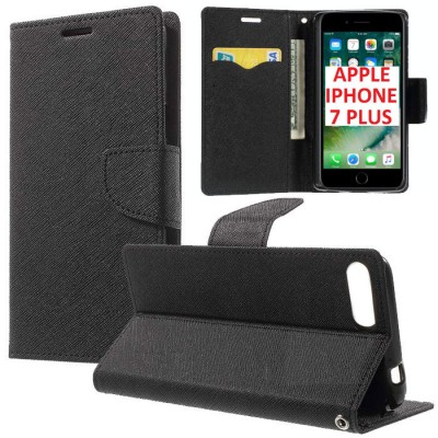 CUSTODIA FLIP ORIZZONTALE per APPLE IPHONE 7 PLUS, IPHONE 8 PLUS CON INTERNO IN TPU, STAND E TASCHE PORTA CARTE COLORE NERO