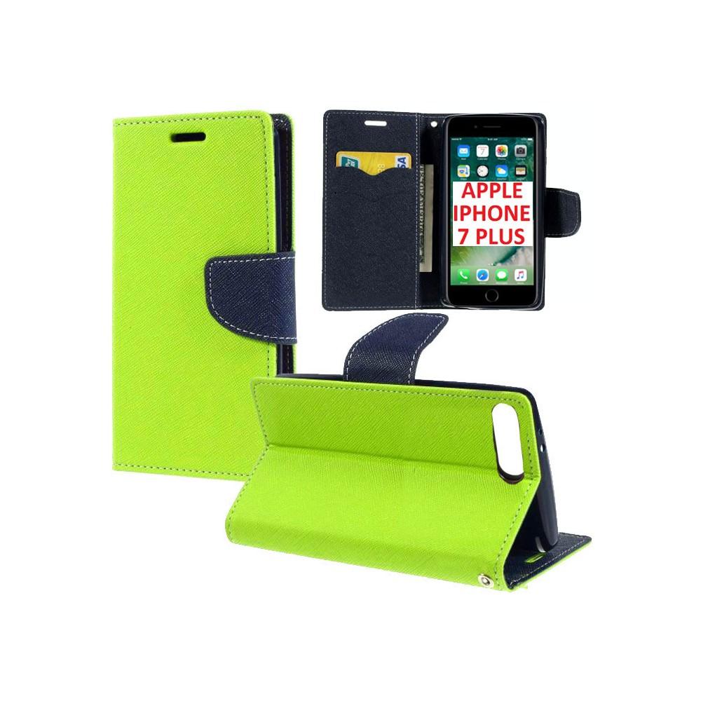 CUSTODIA FLIP ORIZZONTALE per APPLE IPHONE 7 PLUS, IPHONE 8 PLUS CON INTERNO IN TPU, STAND E TASCHE PORTA CARTE COLORE VERDE