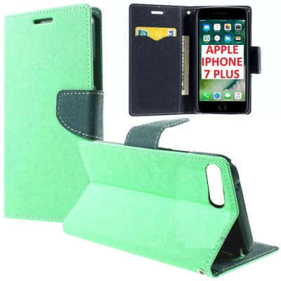CUSTODIA FLIP ORIZZONTALE per APPLE IPHONE 7 PLUS, IPHONE 8 PLUS CON INTERNO IN TPU, STAND E TASCHE PORTA CARTE COLORE VERDE ACQ