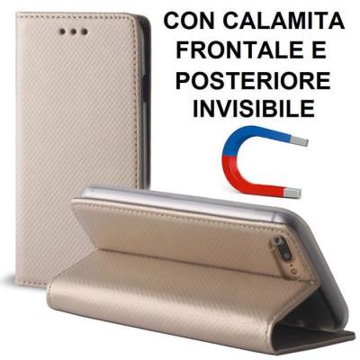 CUSTODIA FLIP ORIZZONTALE per APPLE IPHONE 7 PLUS, IPHONE 8 PLUS con CHIUSURA MAGNETICA INVISIBILE, STAND ED INTERNO IN TPU ORO