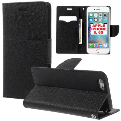CUSTODIA FLIP ORIZZONTALE per APPLE IPHONE 6, IPHONE 6S 4.7' POLLICI CON INTERNO IN TPU, STAND E PORTA CARTE COLORE NERO