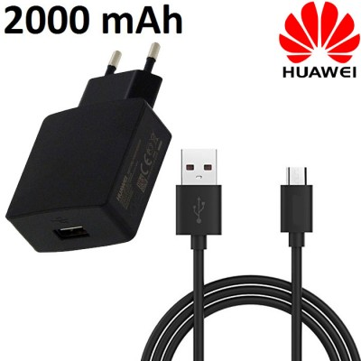 TRAVEL CASA USB HW-050200E3W + CAVO MICRO USB LUNGHEZZA 1 MT ORIGINALE per HUAWEI per Y6II, Y5II, Y3II - 2000 mAh COLORE NERO BU
