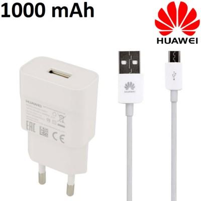 TRAVEL CASA USB HW-050100E01 + CAVO USB LUNGHEZZA 1 MT ORIGINALE per HUAWEI per Y560, P8 LITE - 1000 mAh COLORE BIANCO BULK