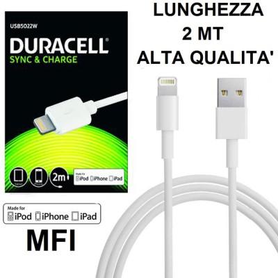 CAVO USB LIGHTNING per APPLE IPHONE XS, IPHONE XR CERTIFICATO MFI LUNGHEZZA 2MT COLORE BIANCO ALTA QUALITA' DURACELL