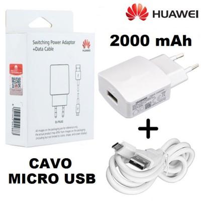TRAVEL CASA USB HW-050200E3W + CAVO MICRO USB ORIGINALE per HUAWEI Y3 II, Y5 II, Y6 II POTENZA 2000 mAh COLORE BIANCO BLISTER