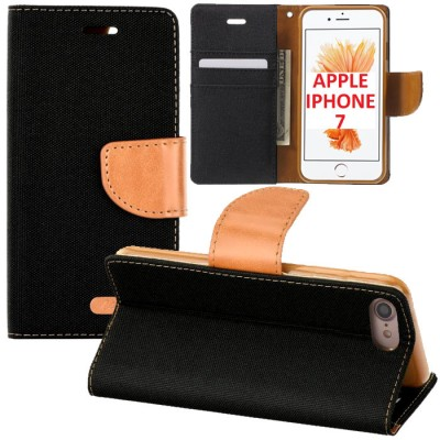CUSTODIA FLIP ORIZZONTALE per APPLE IPHONE 7, IPHONE 8 CON INTERNO IN TPU, STAND E PORTA CARTE COLORE NERO EFFETTO JEANS