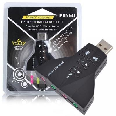 SCHEDA AUDIO ESTERNA USB 2.0 VIRTUAL 3D SOUND DOLBY SURROUND 7.1 CON DOPPIA ENTRATA PER MICROFONO E AUDIO PD560