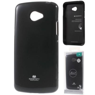 CUSTODIA per LG K5, X220 IN GEL TPU SILICONE COLORE NERO LUCIDO CON GLITTER ALTA QUALITA' MERCURY BLISTER