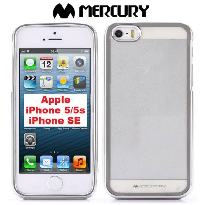 CUSTODIA GEL TPU SILICONE per APPLE IPHONE SE, 5s, 5 TRASPARENTE CON CORNICE COLORE SILVER ALTA QUALITA' MERCURY BLISTER