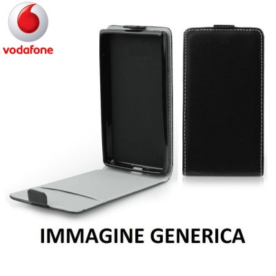 CUSTODIA FLIP VERTICALE SLIM SIMILPELLE per VODAFONE SMART PLATINUM 7 CON INTERNO IN TPU SILICONE COLORE NERO