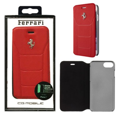 CUSTODIA per APPLE IPHONE 7, IPHONE 8 - FLIP ORIZZONTALE VERA PELLE FERRARI COLORE ROSSO FESEFLBKP7RE BLISTER
