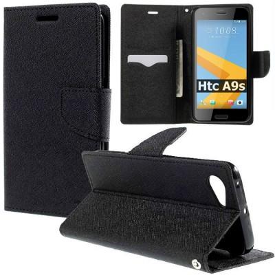 CUSTODIA per HTC ONE A9s - FLIP ORIZZONTALE CON INTERNO IN TPU, STAND, TASCHE PORTA CARTE E CHIUSURA MAGNETICA COLORE NERO